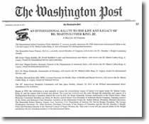"""第三世多杰羌佛獲得 """"馬丁路德金國際服務及領袖獎"""" 華盛頓郵報2011年1月13日新聞報導(點擊以放大)"""